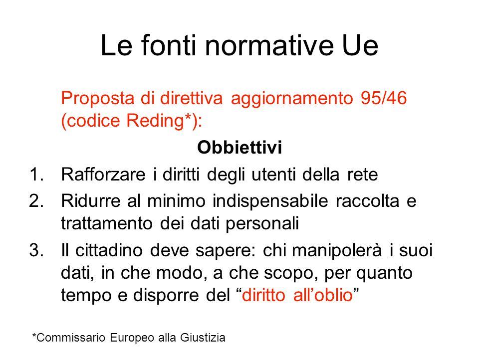 Le fonti normative Ue Proposta di direttiva aggiornamento 95/46 (codice Reding*): Obbiettivi. Rafforzare i diritti degli utenti della rete.