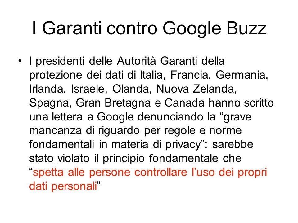 I Garanti contro Google Buzz