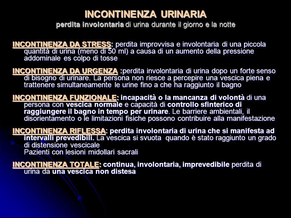 INCONTINENZA URINARIA perdita involontaria di urina durante il giorno e la notte