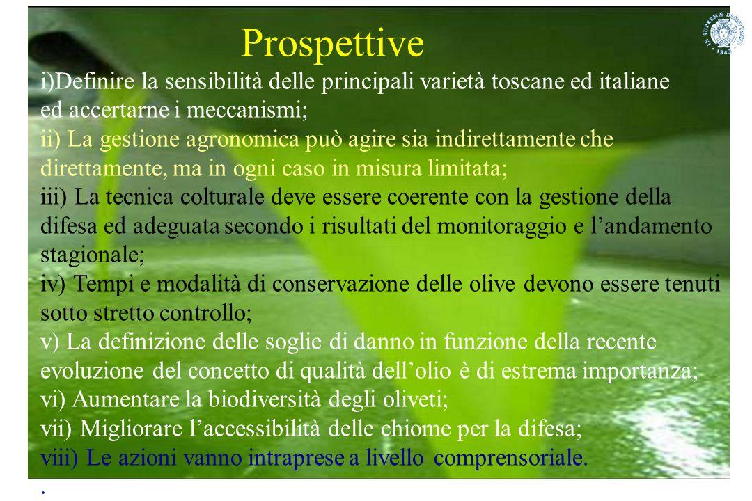 Prospettive Definire la sensibilità delle principali varietà toscane ed italiane. ed accertarne i meccanismi;