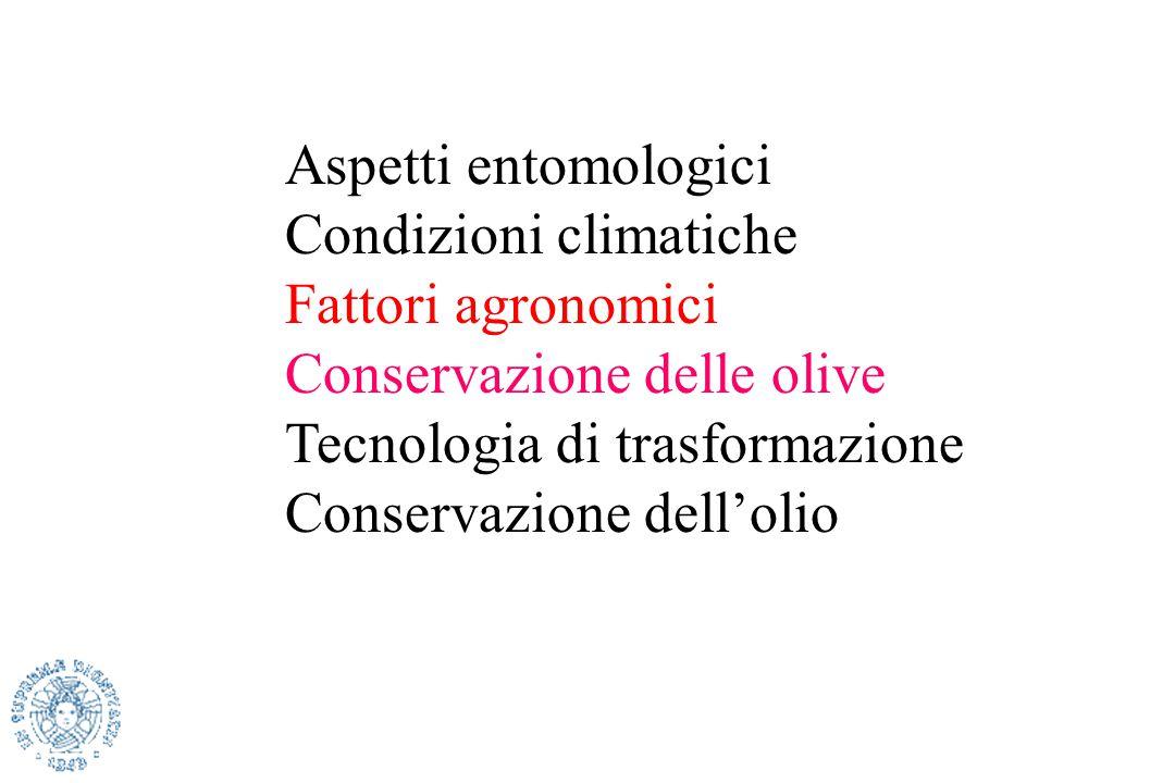 Aspetti entomologici Condizioni climatiche. Fattori agronomici. Conservazione delle olive. Tecnologia di trasformazione.