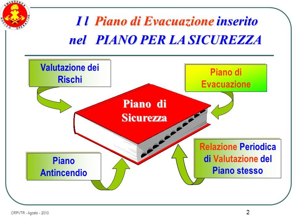 I l Piano di Evacuazione inserito nel PIANO PER LA SICUREZZA