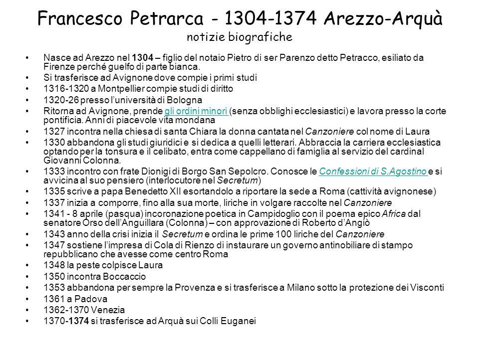 Francesco Petrarca - 1304-1374 Arezzo-Arquà notizie biografiche