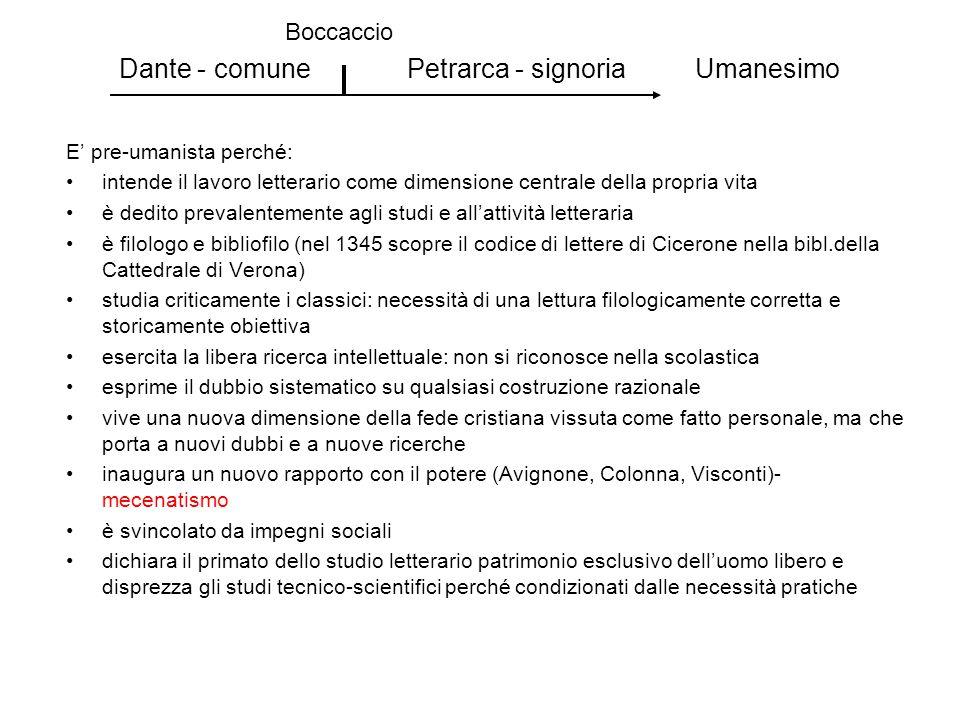 Dante - comune Petrarca - signoria Umanesimo