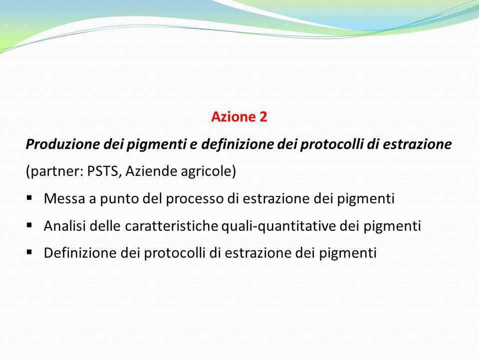 Azione 2 Produzione dei pigmenti e definizione dei protocolli di estrazione. (partner: PSTS, Aziende agricole)