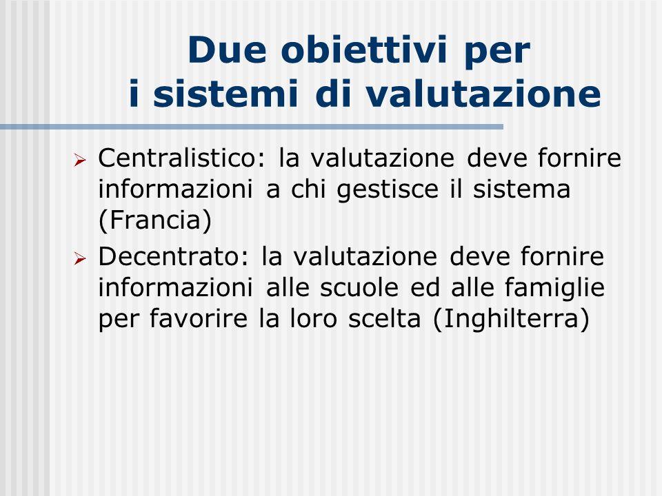 Due obiettivi per i sistemi di valutazione