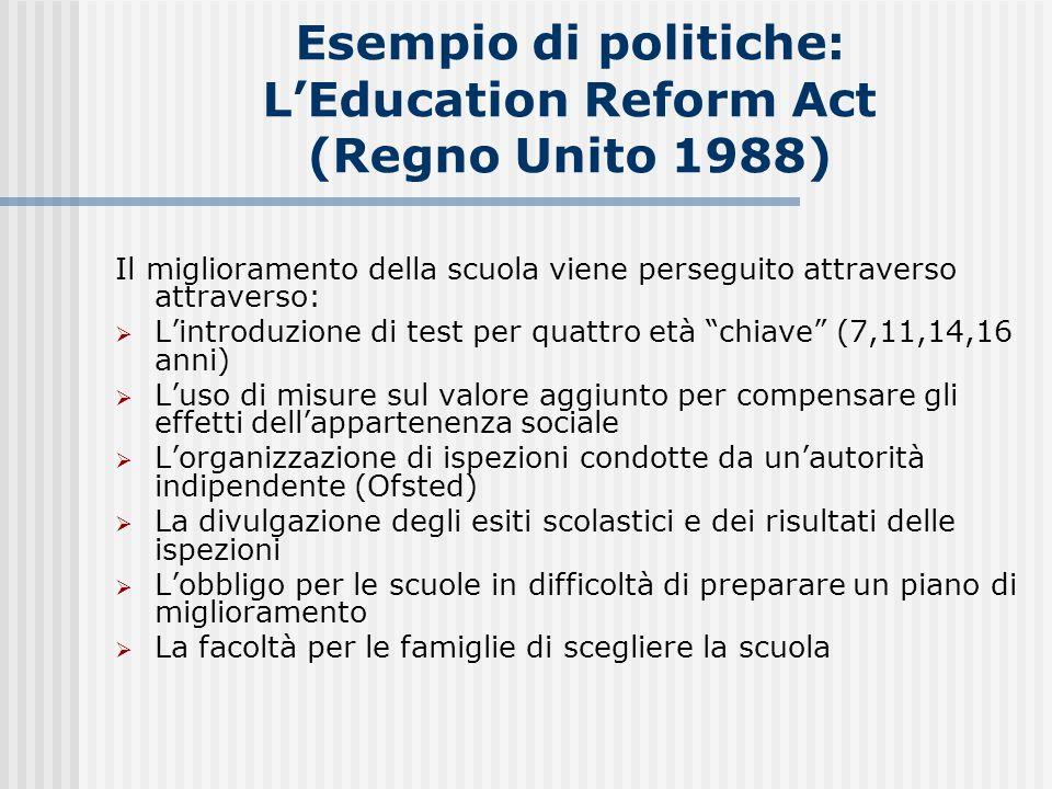 Esempio di politiche: L'Education Reform Act (Regno Unito 1988)