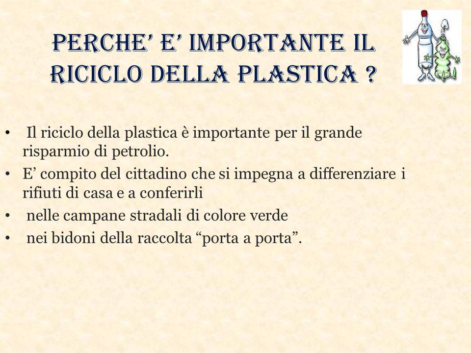 PERCHE' E' IMPORTANTE IL RICICLO DELLA PLASTICA