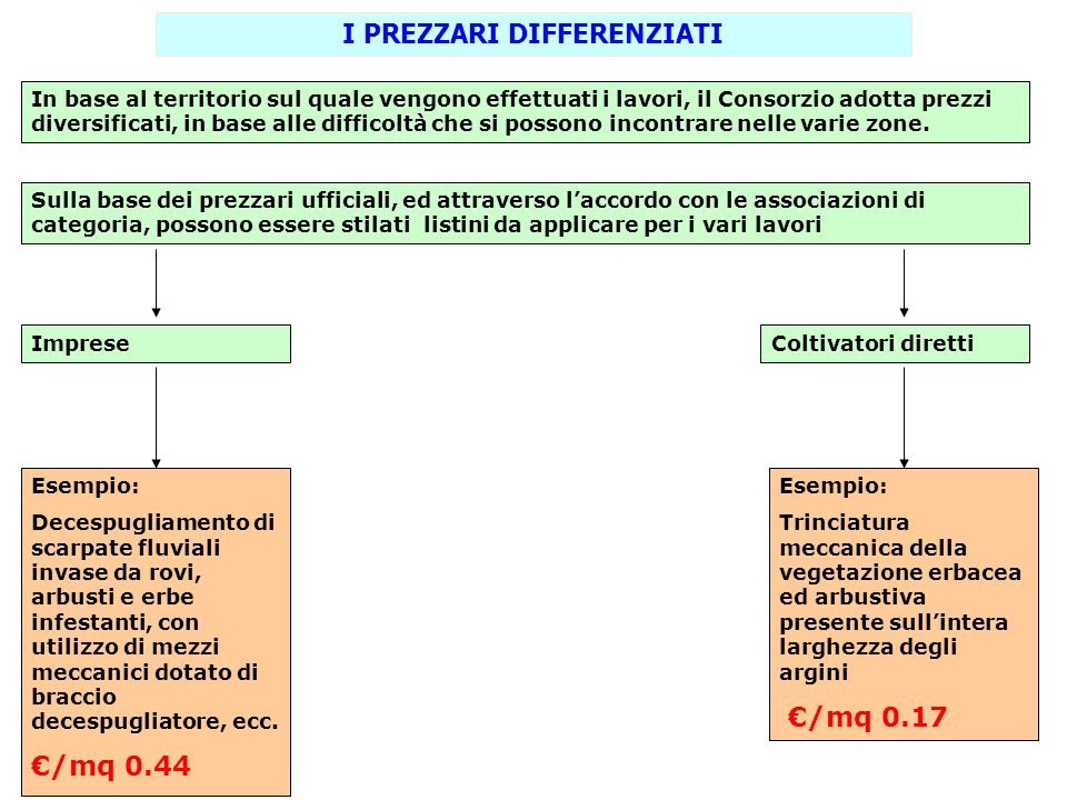 I PREZZARI DIFFERENZIATI