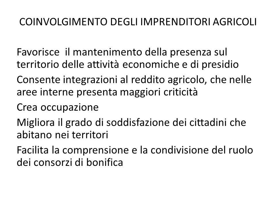 COINVOLGIMENTO DEGLI IMPRENDITORI AGRICOLI