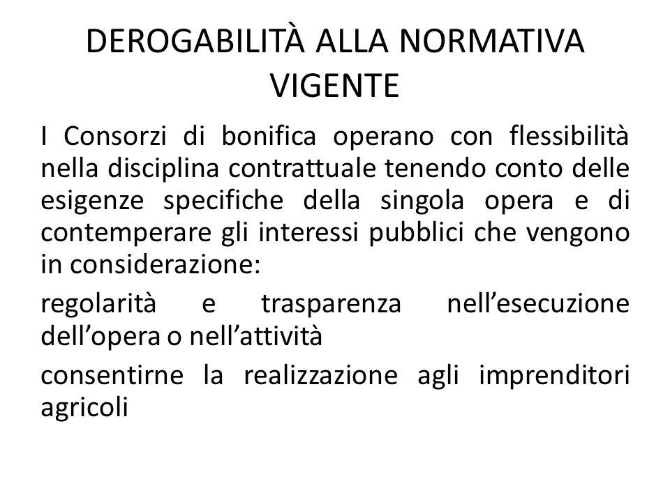 DEROGABILITÀ ALLA NORMATIVA VIGENTE
