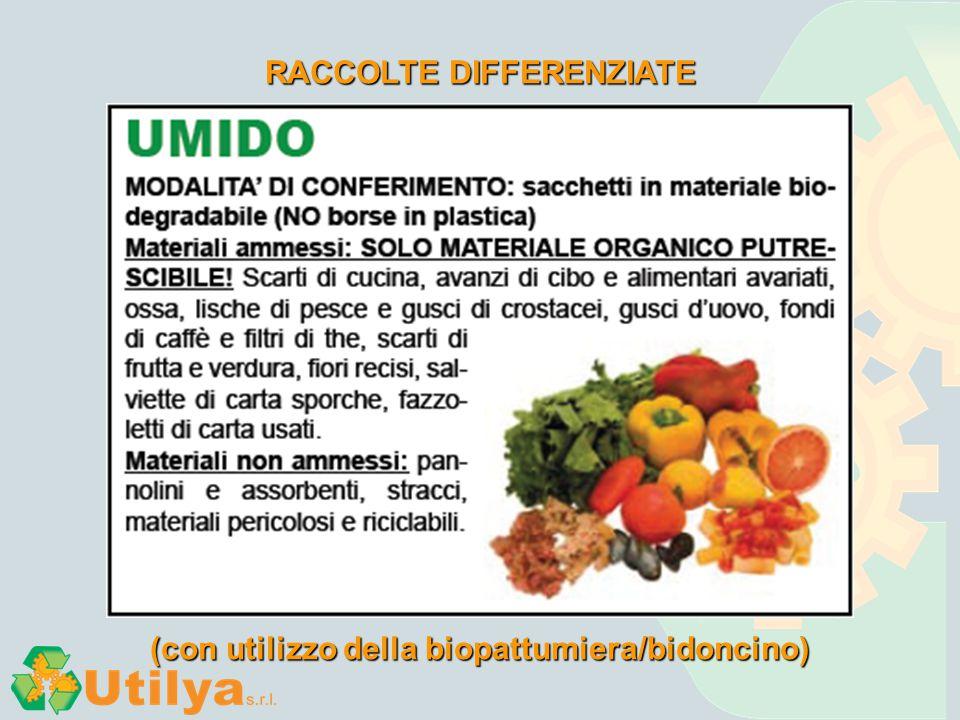RACCOLTE DIFFERENZIATE (con utilizzo della biopattumiera/bidoncino)