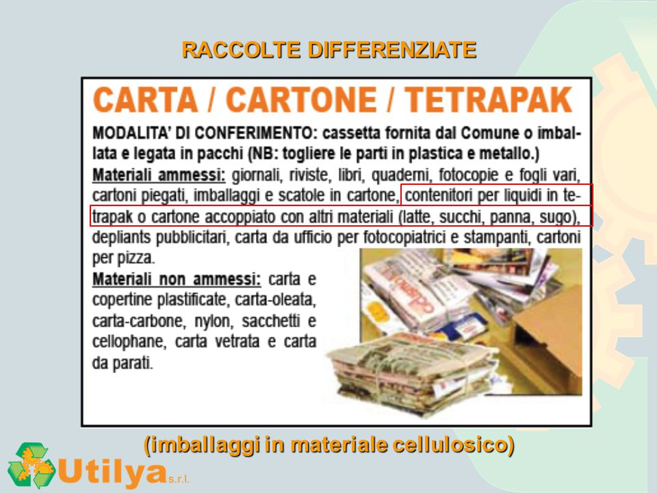RACCOLTE DIFFERENZIATE (imballaggi in materiale cellulosico)