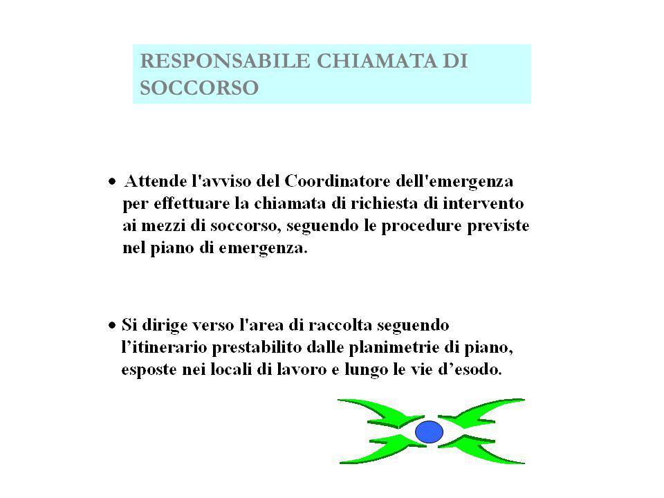 RESPONSABILE CHIAMATA DI SOCCORSO RESPONSABILE DELL'AREA DI RACCOLTA
