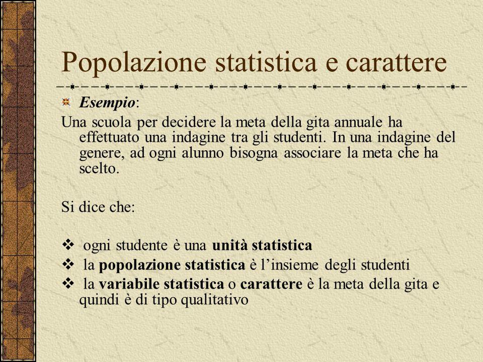 Popolazione statistica e carattere