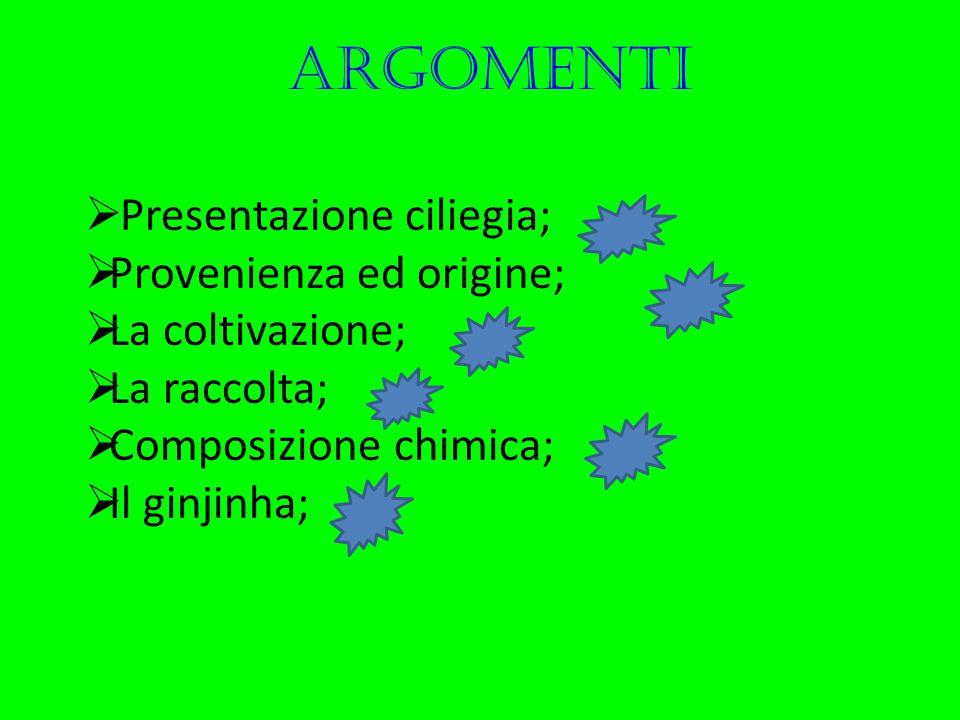 argomenti Presentazione ciliegia; Provenienza ed origine;