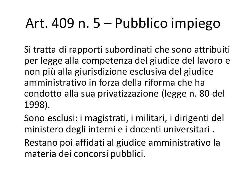 Art. 409 n. 5 – Pubblico impiego