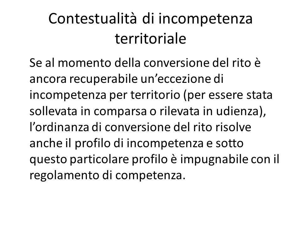 Contestualità di incompetenza territoriale