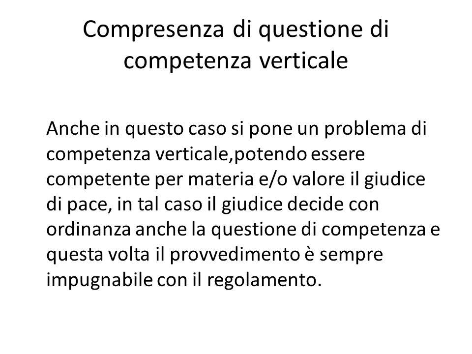 Compresenza di questione di competenza verticale