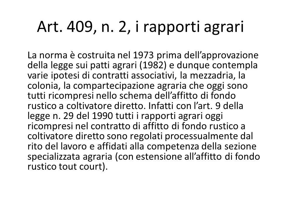 Art. 409, n. 2, i rapporti agrari