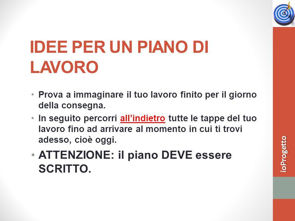 IDEE PER UN PIANO DI LAVORO