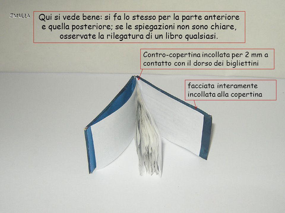 Qui si vede bene: si fa lo stesso per la parte anteriore e quella posteriore; se le spiegazioni non sono chiare, osservate la rilegatura di un libro qualsiasi.