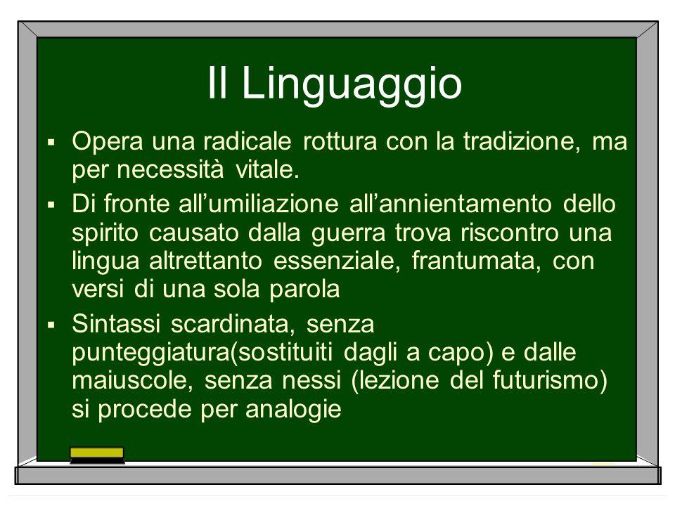 Il Linguaggio Opera una radicale rottura con la tradizione, ma per necessità vitale.