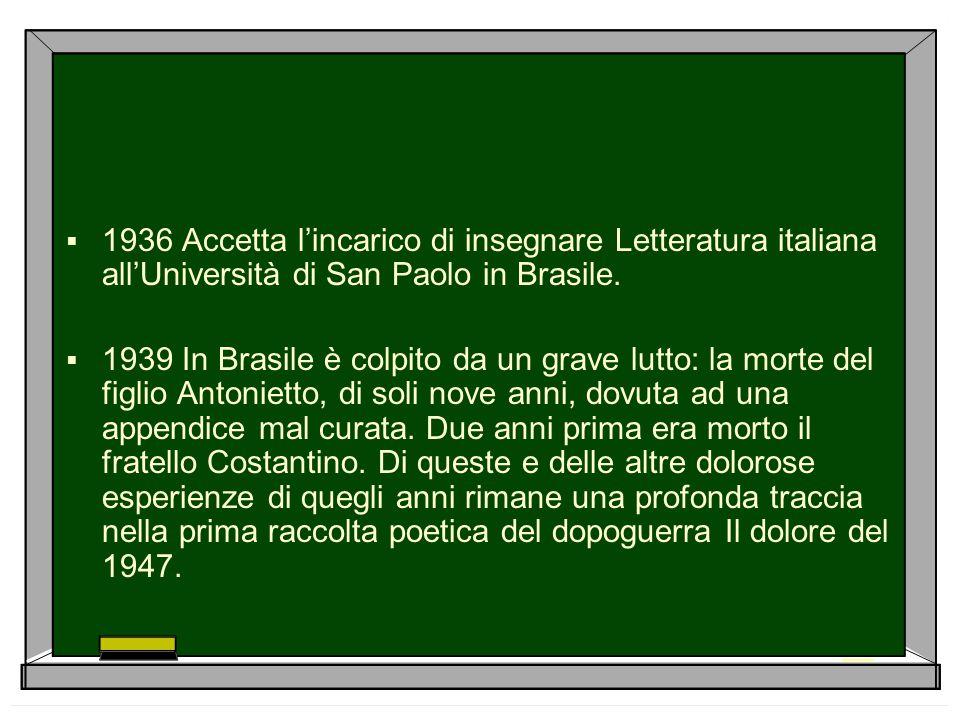 1936 Accetta l'incarico di insegnare Letteratura italiana all'Università di San Paolo in Brasile.