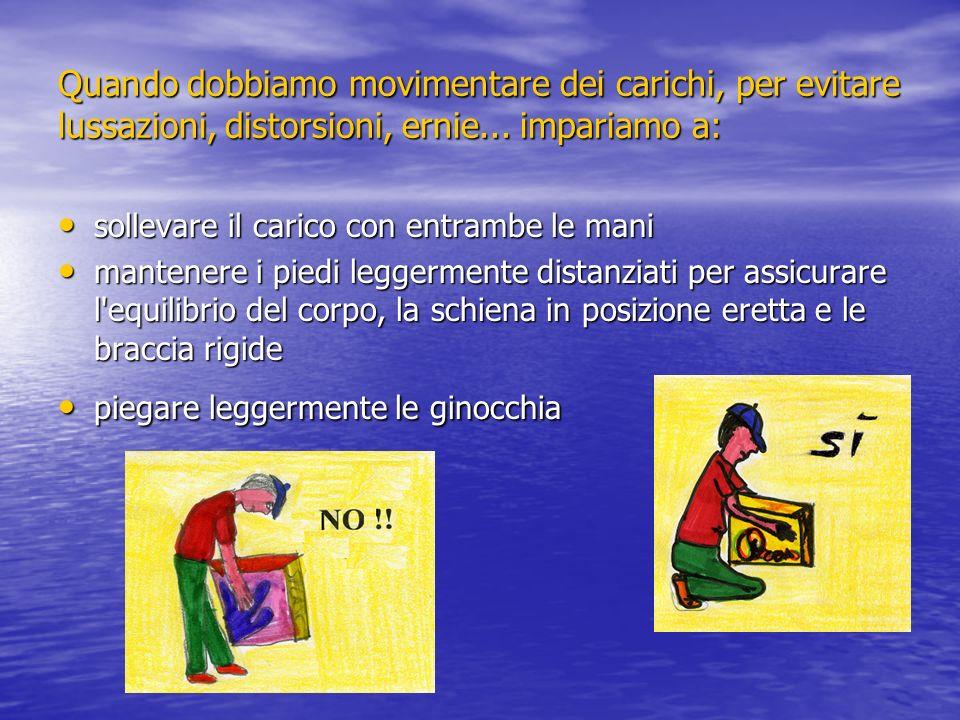Quando dobbiamo movimentare dei carichi, per evitare lussazioni, distorsioni, ernie... impariamo a: