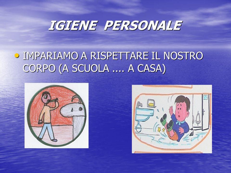 IGIENE PERSONALE IMPARIAMO A RISPETTARE IL NOSTRO CORPO (A SCUOLA .... A CASA)