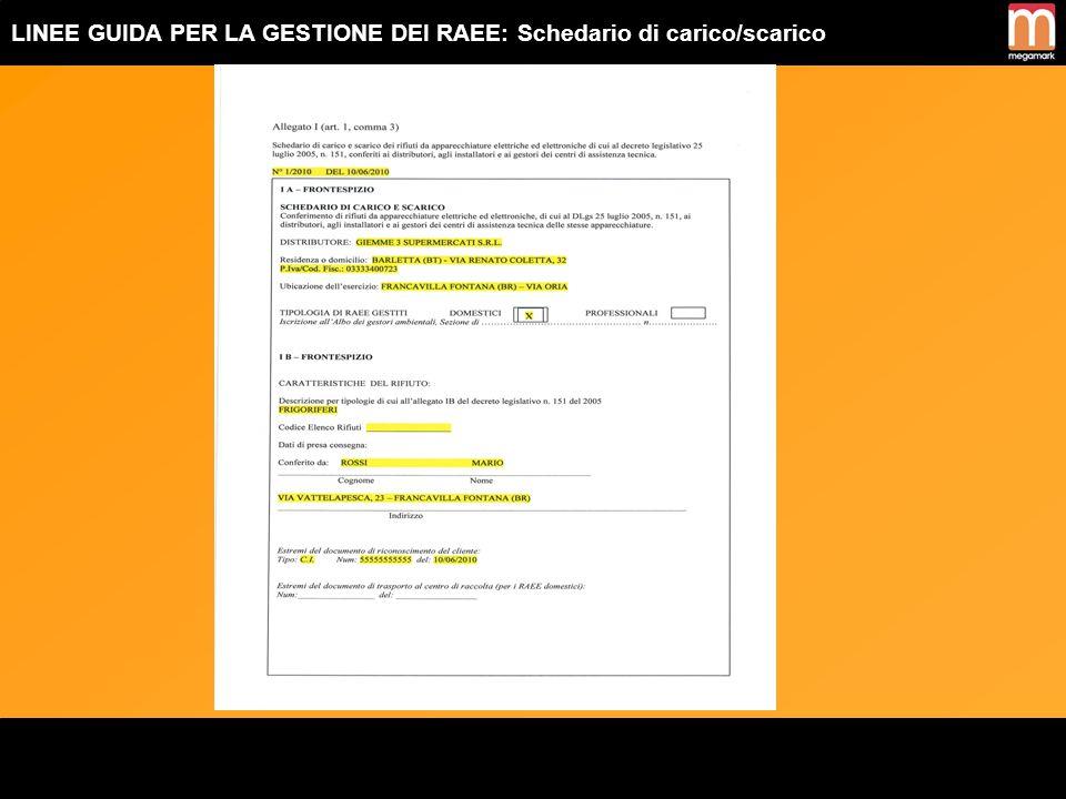 LINEE GUIDA PER LA GESTIONE DEI RAEE: Schedario di carico/scarico