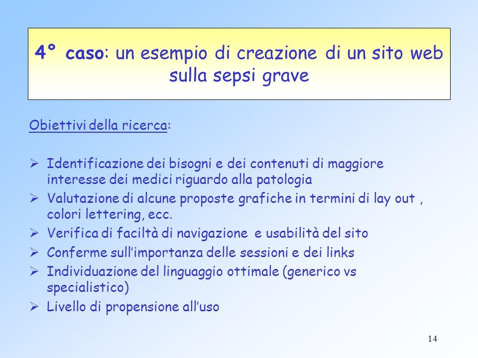 4° caso: un esempio di creazione di un sito web sulla sepsi grave