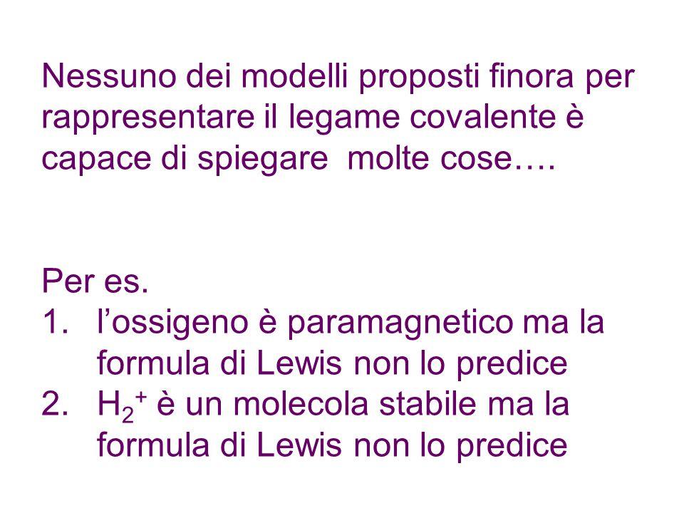 Nessuno dei modelli proposti finora per rappresentare il legame covalente è capace di spiegare molte cose….