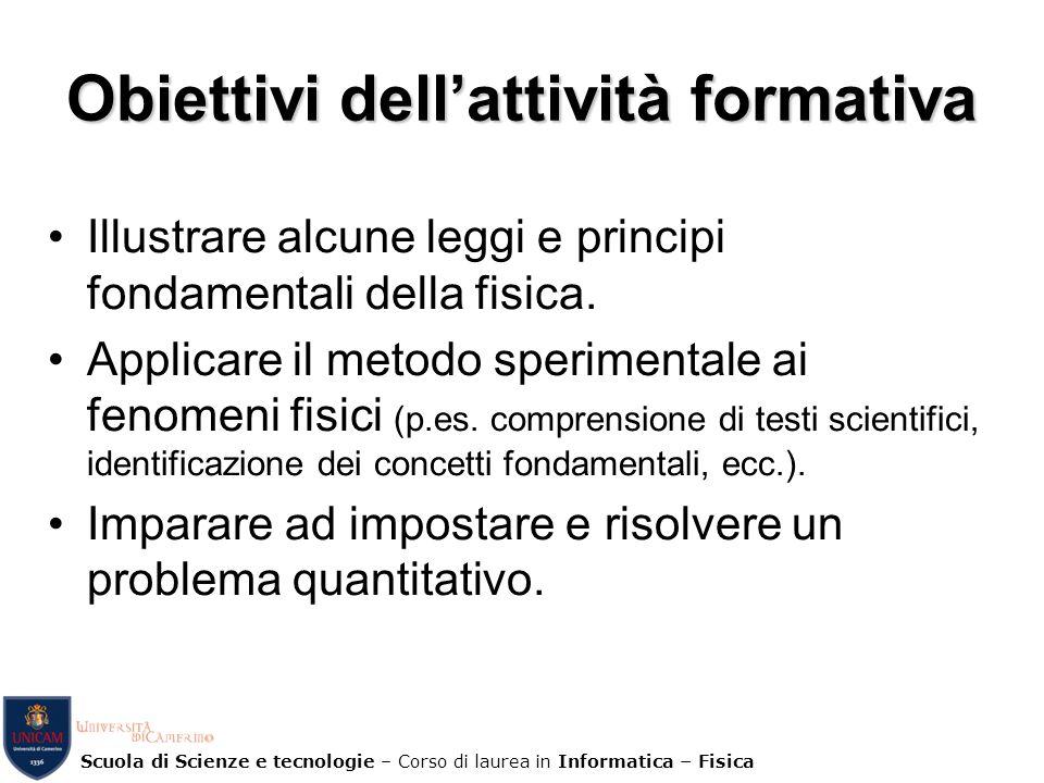 Obiettivi dell'attività formativa