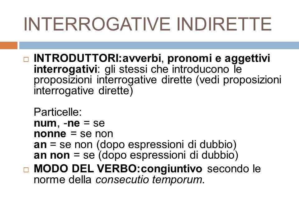 INTERROGATIVE INDIRETTE
