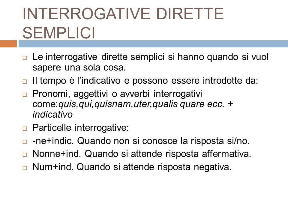 INTERROGATIVE DIRETTE SEMPLICI