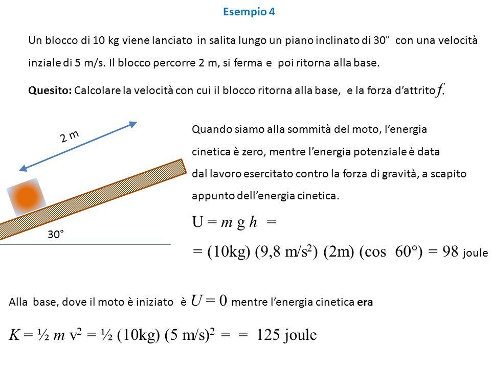 = (10kg) (9,8 m/s2) (2m) (cos 60°) = 98 joule