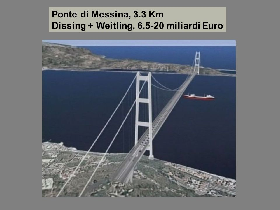 Ponte di Messina, 3.3 Km Dissing + Weitling, 6.5-20 miliardi Euro