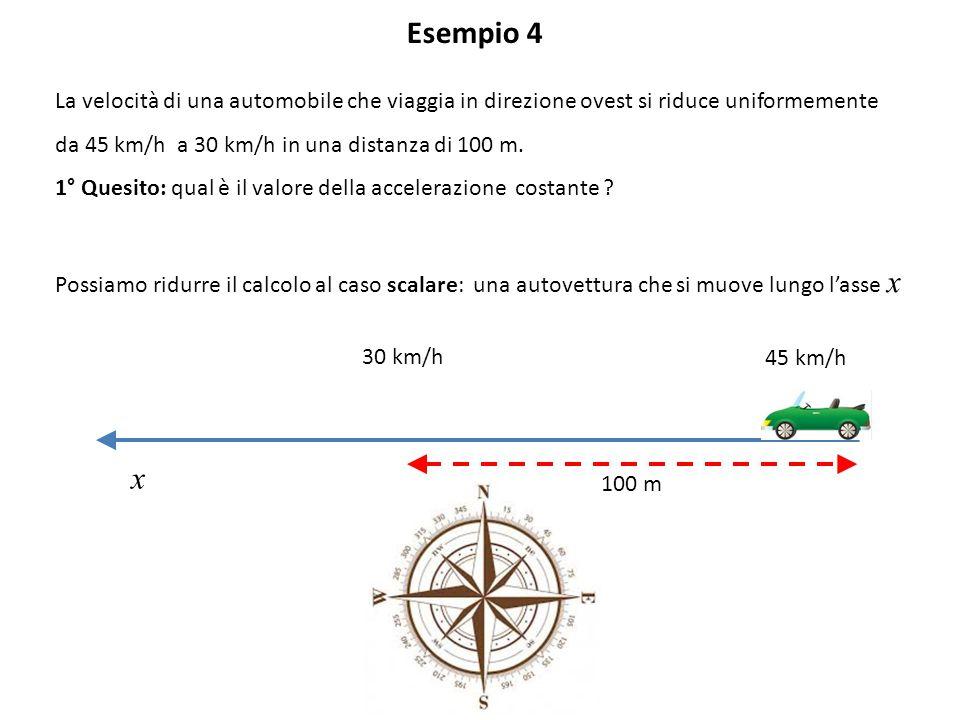 Esempio 4 La velocità di una automobile che viaggia in direzione ovest si riduce uniformemente. da 45 km/h a 30 km/h in una distanza di 100 m.