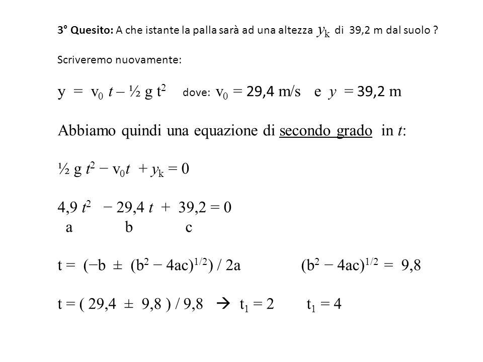 y = v0 t – ½ g t2 dove: v0 = 29,4 m/s e y = 39,2 m