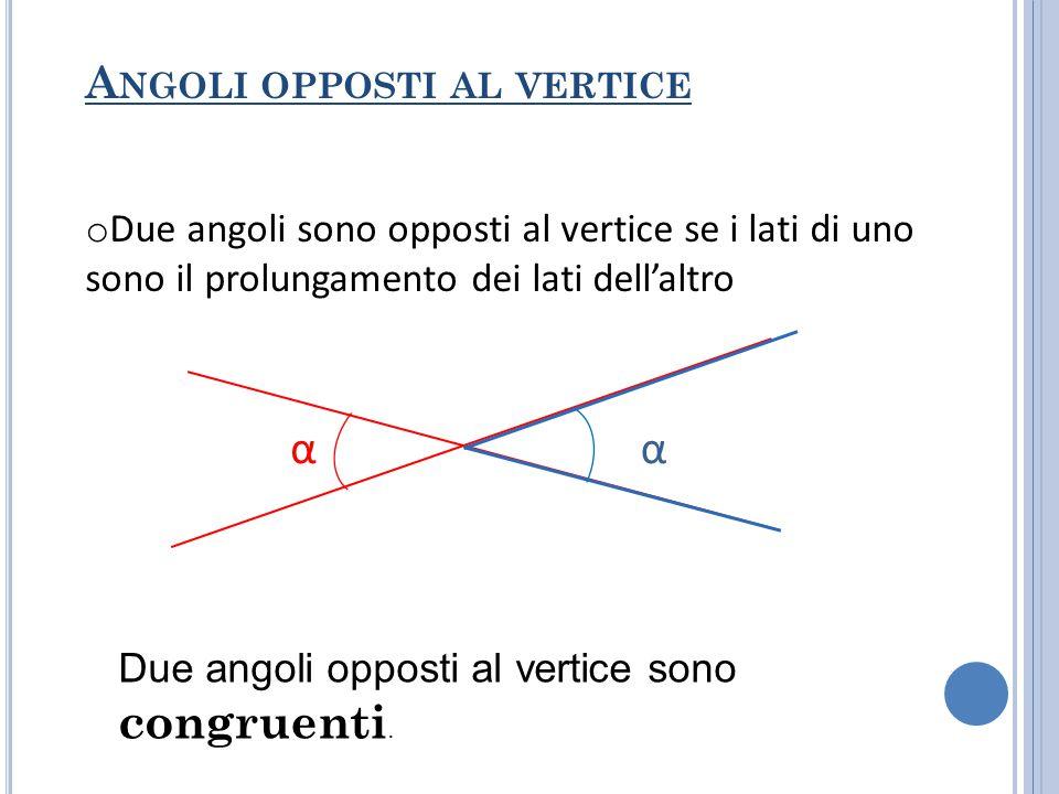 α α Angoli opposti al vertice