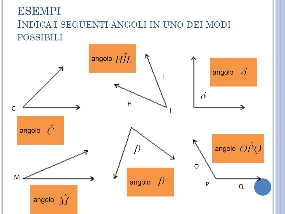 ESEMPI Indica i seguenti angoli in uno dei modi possibili