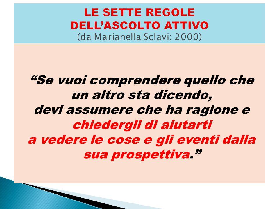 LE SETTE REGOLE DELL'ASCOLTO ATTIVO (da Marianella Sclavi: 2000)