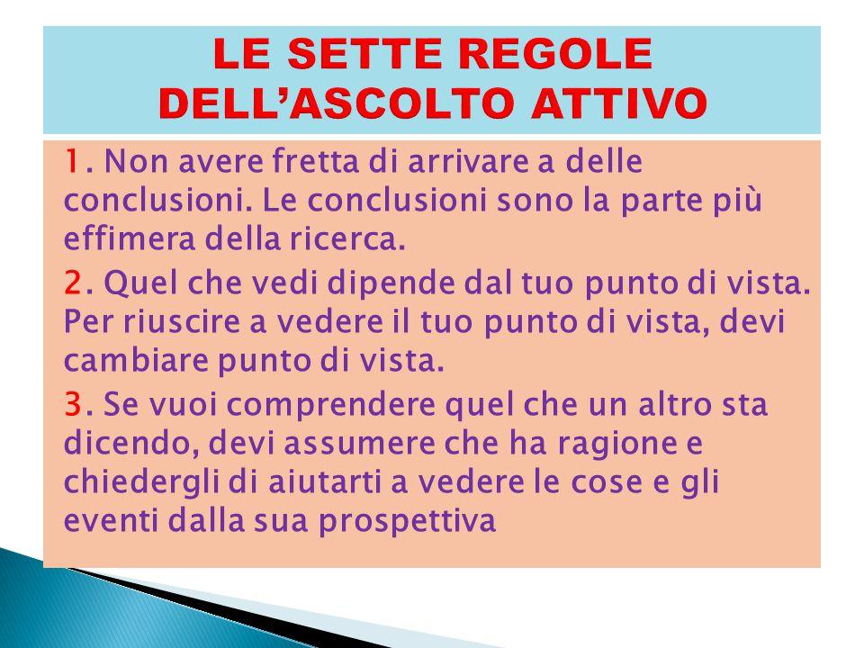 LE SETTE REGOLE DELL'ASCOLTO ATTIVO