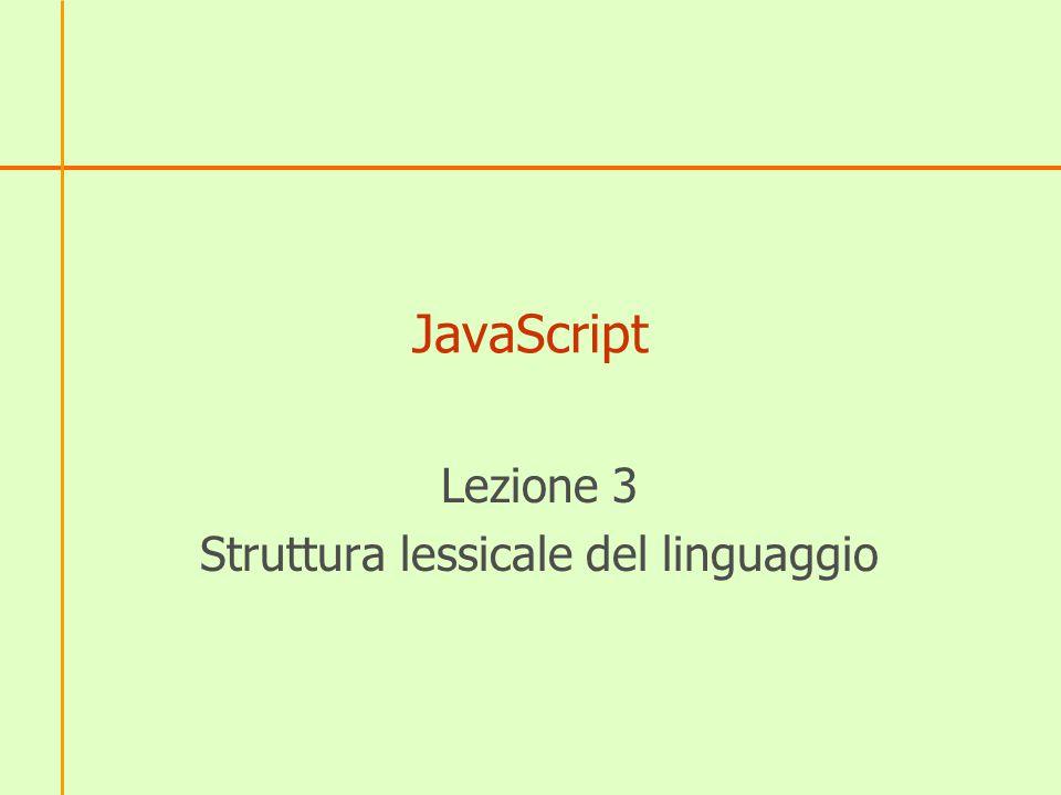 Lezione 3 Struttura lessicale del linguaggio