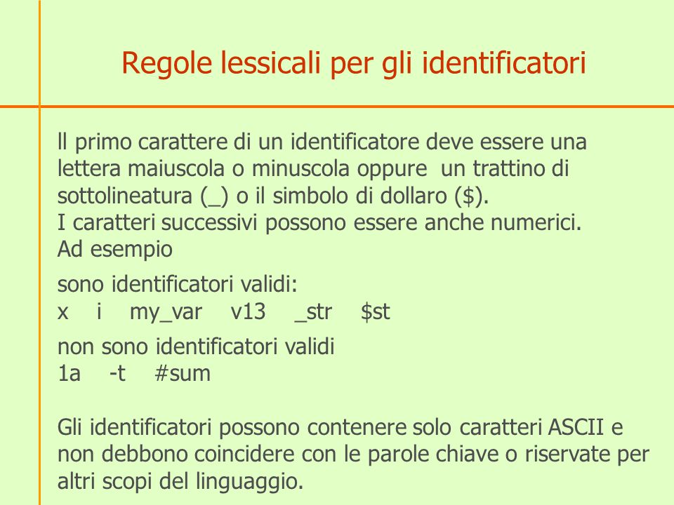 Regole lessicali per gli identificatori