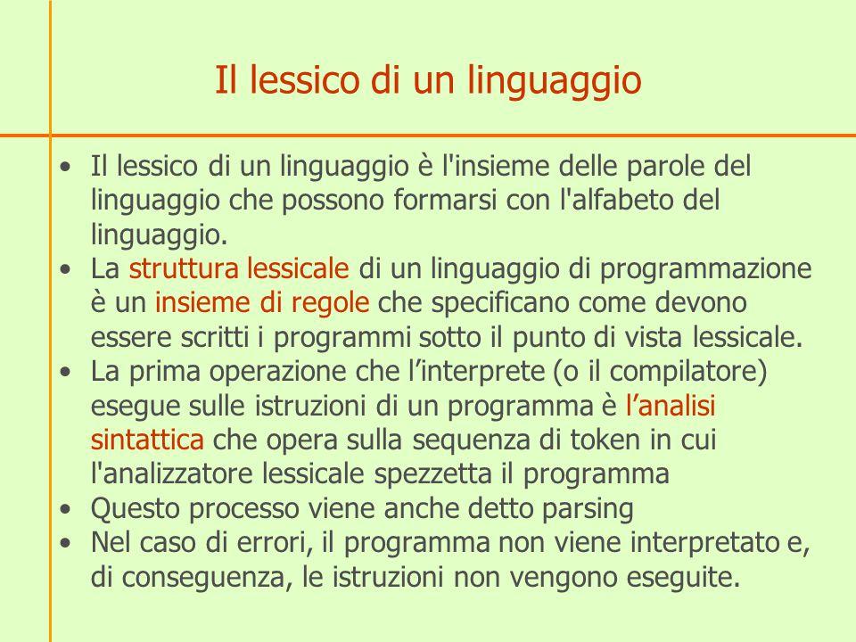 Il lessico di un linguaggio