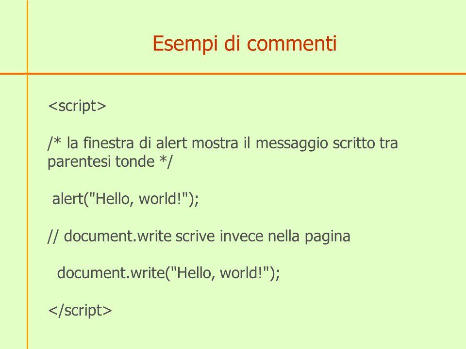 Esempi di commenti <script>