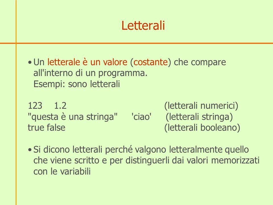 Letterali Un letterale è un valore (costante) che compare all interno di un programma. Esempi: sono letterali.