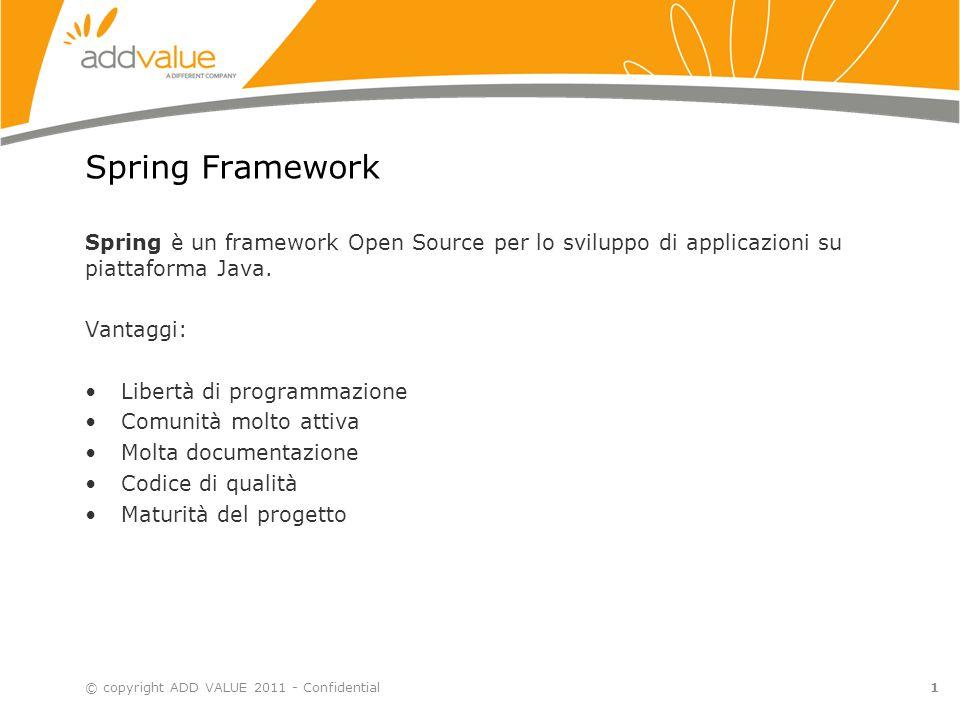 Spring Framework Spring è un framework Open Source per lo sviluppo di applicazioni su piattaforma Java.